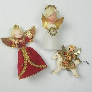 Three vintage Mid-century angel ornaments